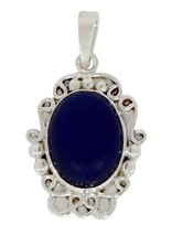 Gorgeous looking lapis solid gemstone 925 sterling silver pendant SHPN0220 - $19.62