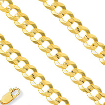 9mm 14K Yellow Gold 925 Sterling Silver Solid Necklace Cuban Curb Mens C... - $226.50+