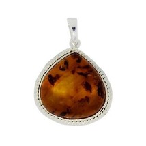 2016 New design pear amber gemstone solid 925 sterling silver pendant SHPN0239 - $17.75