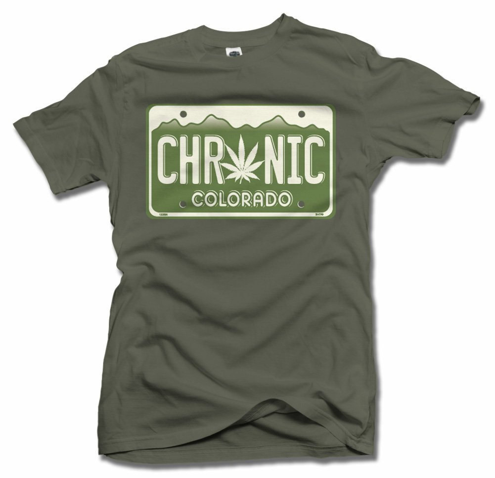 CHRONIC COLORADO LICENSE PLATE 2X Military Green Men's Tee (6.1oz)