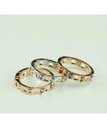 18K Alloy Swarovski Crystals Cutout Band Ring(Gold+Coloured Diamond-16/1... - $9.99