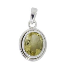925 Sterling 10X8 mm oval shape solid citrine gemstone silver pendant SH... - $15.43