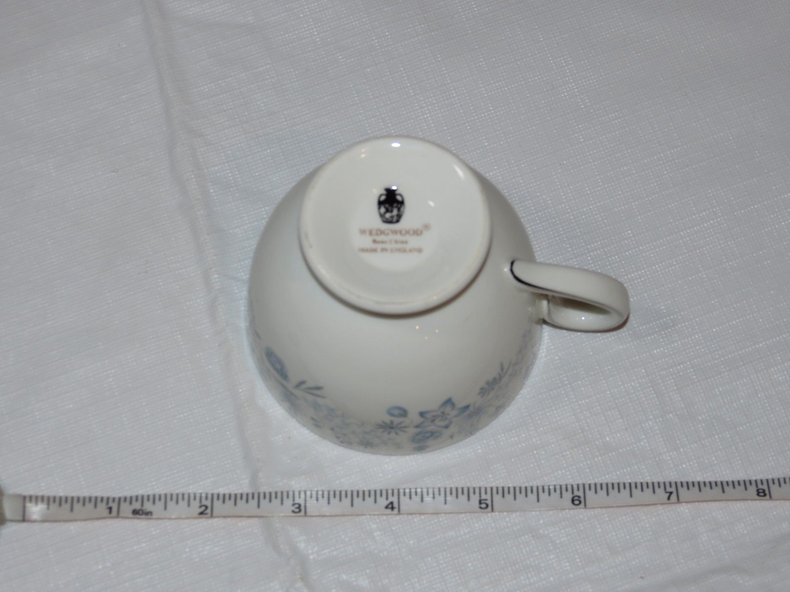 Wedgwood Belle Fleur Bone China 1 Tea Cup Made in England white blue ! image 7