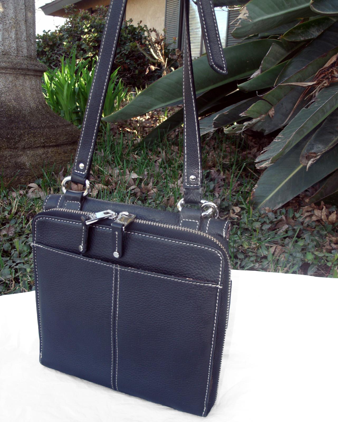 Tignanello Black Pebbled Leather Organizer Crossbody built in Wallet image 8