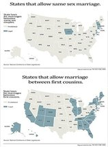 Vinteja charts of - State Law - Same Sex vs First Cousin Marriage - A3 Poster... - $22.99