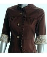 New Brown cotton shirt jacket Paisley trim XL R... - $29.99