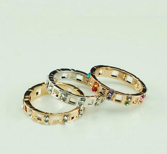 Primary image for 18K Alloy Swarovski Crystals Cutout Band Ring(Gold+White Diamond-16/17/18)