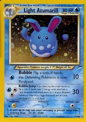 Light Azumarill 13/105 Holo Rare Neo Destiny Pokemon Card