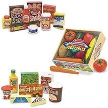 Melissa & Doug Wooden Fridge Food Set, Pantry Products, and Playtime Veg... - $49.25