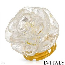 DV ITALY Brand New Ring Yellow Base metal and 925 Two tone Murano Glass - $24.95