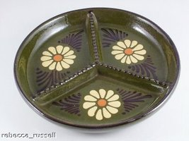 Studio Pottery 3 Section 8.25 Inch Hors Doeuvres Dish - $50.27