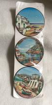 VINTAGE Mediterranian Landscape Set Of 6 Round Coasters NEW UNUSED - $120,38 MXN