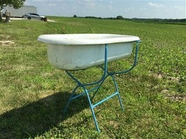 Vintage Hungarian Porcelain Baby Bath Tub with Stand, Farmhouse Garden P... - $299.00