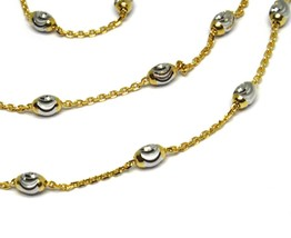 """18K YELLOW & WHITE GOLD ROLO ALTERNATE CHAIN NECKLACE 3mm FACETED OVAL BALLS 18"""" image 2"""