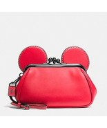 NWT DISNEY X COACH Limited Edition Mickey Mouse Kisslock Wristlet Red Le... - $375.00