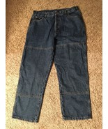 Mens Field Tested Guide Gear Flannel Lined Blue Jean Pants Size 38x29 - $47.99