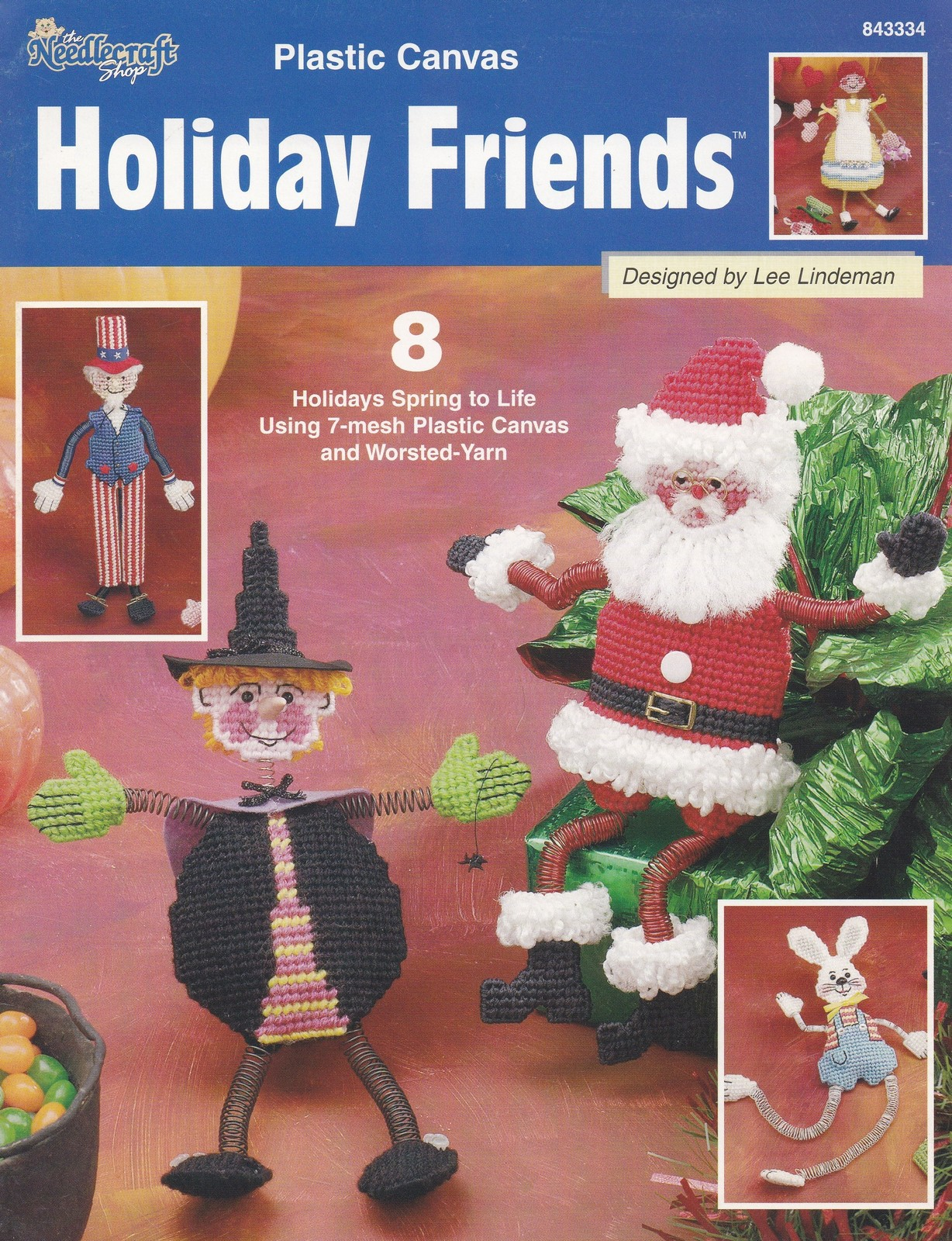 Primary image for Holiday Friends, Plastic Canvas Pattern Booklet 843334, 8 Classic Characters