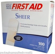 """Adhesive Bandages Sheer Strip 1"""" x 3"""" 100 per box by First Aid - MS20250 - $9.75"""