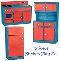 3 Pc Kitchen Play Set   Red White & Blue Amish Handmade Kids Toy Furniture Usa - $1,168.17
