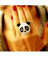 Fashion Rhinestone Panda Cocktail Ring - $7.99