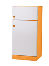 Kitchen Refrigerator ~ Orange & White Amish Handmade Wood Play Furniture Usa - $346.47