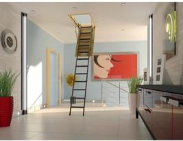 Insulated Steel Attic Ladder 350 Lbs Load capacity Wood Door Adjustable ... - $415.69