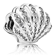 925 Sterling Silver Ariel's Shell with Clear CZ Charm Bead QJCB534 - €16,27 EUR