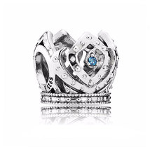 925 Sterling Silver Elsa's Crown Disney Princess Blue Cz Charm Bead QJCB527 - €17,66 EUR