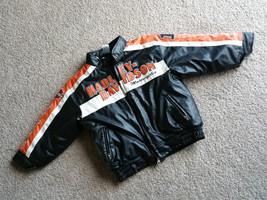 Harley Davidson Toddler Boys Jacket Coat Zip Up Orange Black Size 5 Patches - $35.99