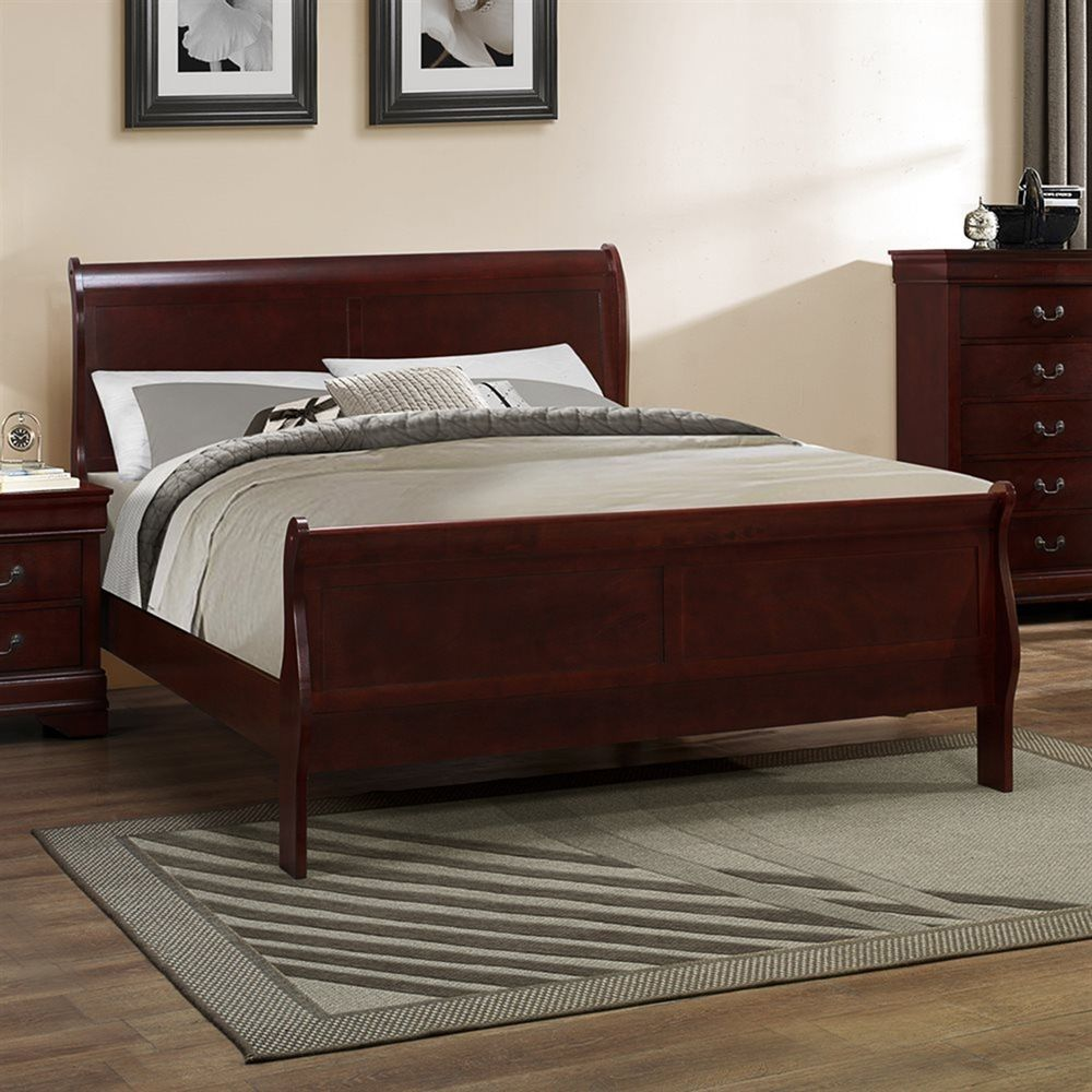 bedroom set cherry finish 1pc full size bed furniture home bedroom