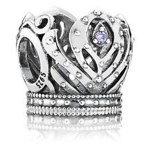 925 Sterling Silver Anna Crown Disney Princess Purple Cz Charm Bead QJCB526 - €17,66 EUR