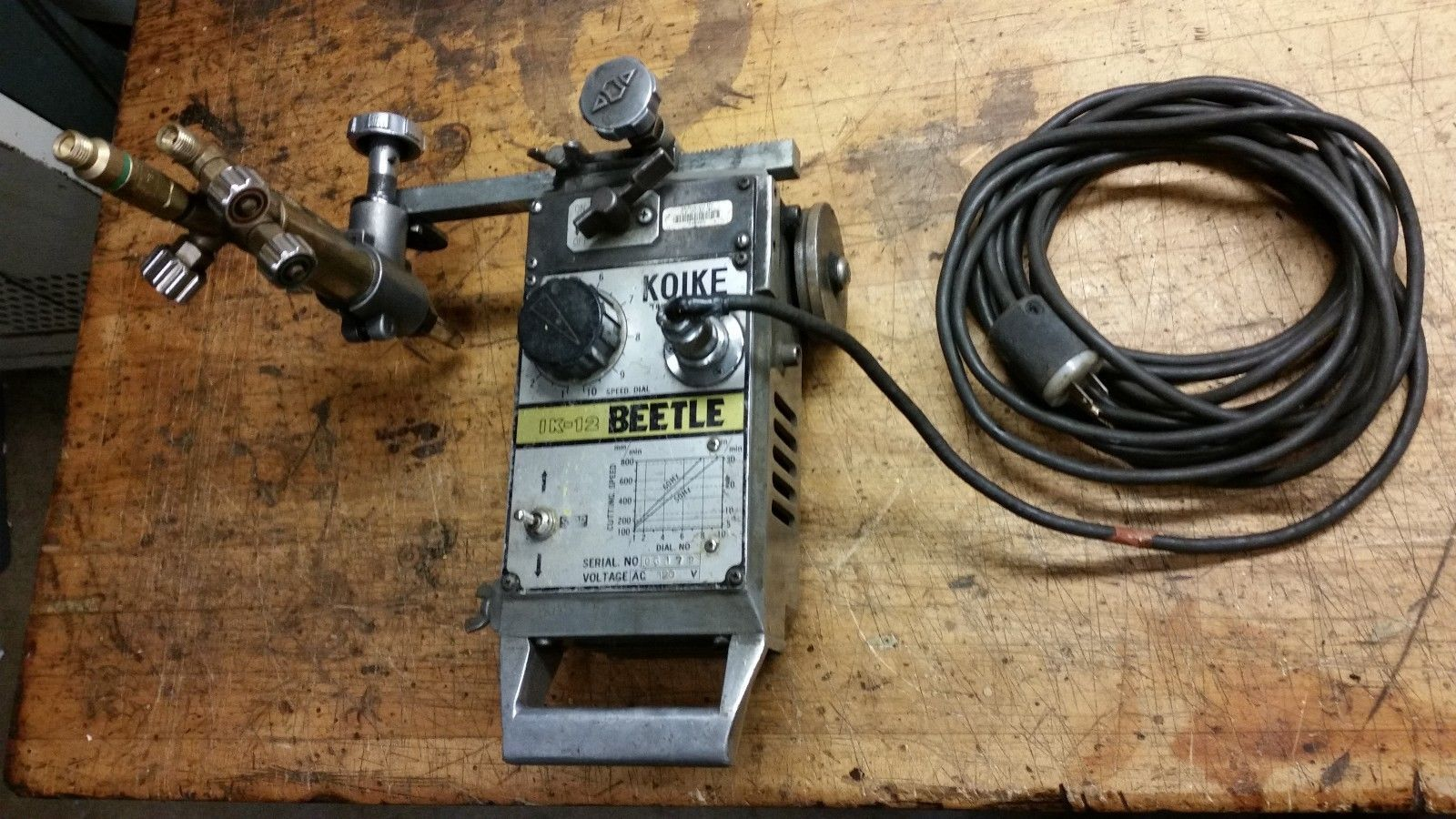 KOIKE IK-12 BEETLE TRACK CUTTING MACHINE W/ TORCH oxy-acetylene