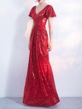 Women Sequin Maxi Dresses Cap Sleeve High Waist Maxi Sequin Dress Gold Red Black image 2
