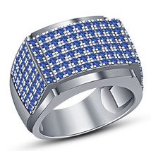 10k White Gold Plated 925 Silver Round Cut Blue Sapphire Men's Band Wedd... - $96.88