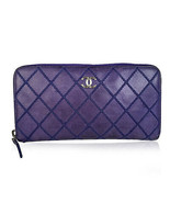 Authentic Chanel Electric Blue Quilted Leather Double Stitch Zip Around ... - $534.60