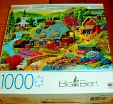 Jigsaw Puzzle 1000 Pieces Country Cottage Farm Animals Church Flowers Co... - $14.84