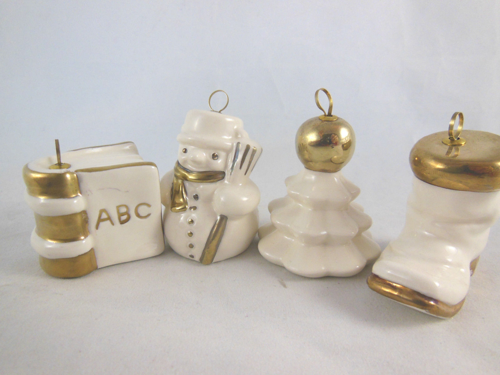 Goebel Porcelain White With Gold Set Of 4 West Germany Boot tree book snowman 2""