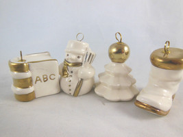 Goebel Porcelain White With Gold Set Of 4 West Germany Boot tree book sn... - $19.79