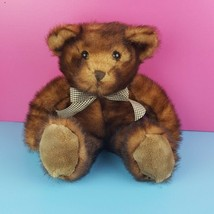 "Wishpets Plush Brown Teddy Bear Cinnamon Plaid Ribbon 19"" Stuffed Animal... - $19.79"