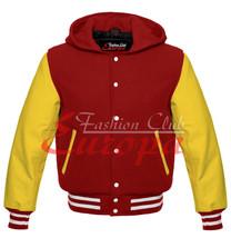 Unisex American Varsity College Hoodie Letterman Wool& Real Leather Sleeves - $91.07+