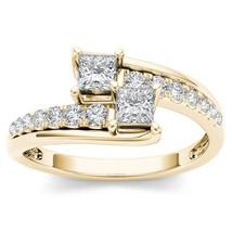 IGI Certified 14K Yellow Gold 0.62 Ct Princess Diamond Two Stone Engagem... - $649.99