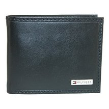 Tommy Hilfiger Men's Leather Fordham Bifold Wallet with Coin Pocket, Black