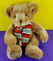 "Russ Berrie Plush Teddy Bear Brock Stuffed Animal Red Green Scarf 13"" - $28.70"