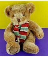 "Russ Berrie Plush Teddy Bear Brock Stuffed Animal Red Green Scarf 13"" - $28.70"
