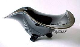 Distinctive Black Glass Bowl, Duncan Miller, Silver Overlay - $46.89