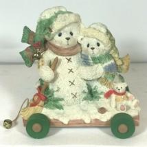 Cherished Teddies Bear Ursula Bernhard Snowmen Sled Figurine Enesco Chri... - $9.50