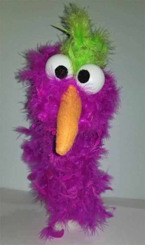 """C20 * Deluxe Custom """"Purple / Green Top Bird""""  Sock Puppet * Custom Made"""