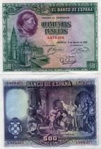 El Banco De Espana 500 Pesetas - 1928 - XF- SPAIN P77 Rare Banknote - $74.58