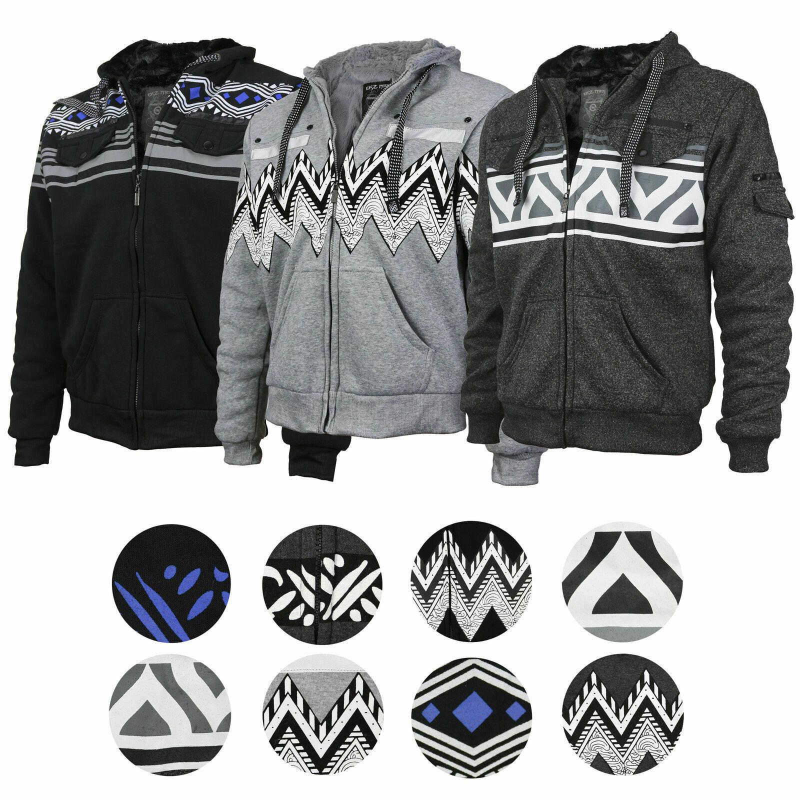 EKZ Men's Graphic Geo Tribal Fleece Lined Zip Up Sherpa Hoodie Jacket - $29.95