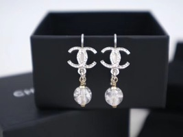 100% AUTH NEW CHANEL Silver CC Crystal Dangle Drop Earrings image 4